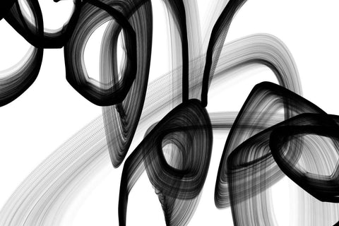 A Secret Code Abstract Black and White Contemporary Canvas Art Print, Unique Abs
