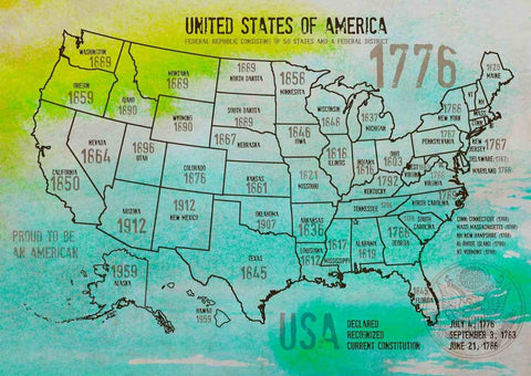 "Map of USA 1776-18. Canvas Print by Irena Orlov 24"" X 36"", large canvas art prin"