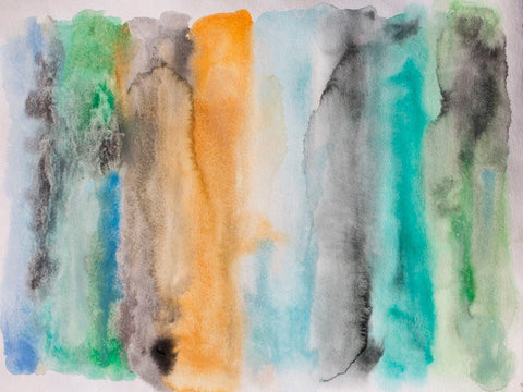 "Across the Bay, Watercolor Palette. Extra Large up to 60"" Vibrant Colors Abstrac"