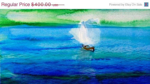 "ON SALE Sailing Sunrise . Canvas Print by Irena Orlov 48"" x 20"", large landscape"