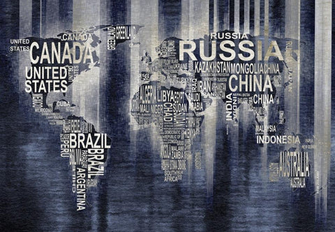 Modern World Text Map VII. Large Canvas Art . Large Wall Art for Home. Abstract