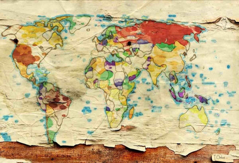 Aged World Map. Large Canvas Art Print. Large Wall Art for Home. Abstract Map. H