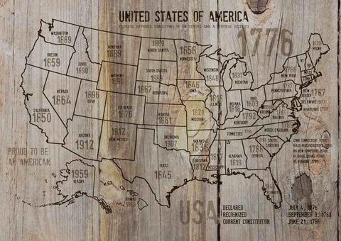 "Map of USA 1776-37. Canvas Print by Irena Orlov 24"" X 36"", large canvas art prin"