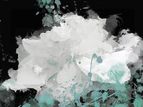 "Majesty Teal. Large Floral Canvas Art Print up to 60"", Large White on Black Flow"