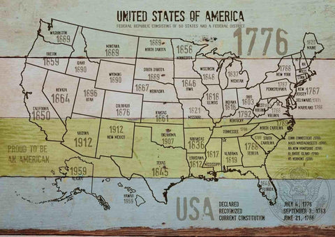 "Map of USA 1776-11. Canvas Print by Irena Orlov 24"" X 36"", large canvas art prin"