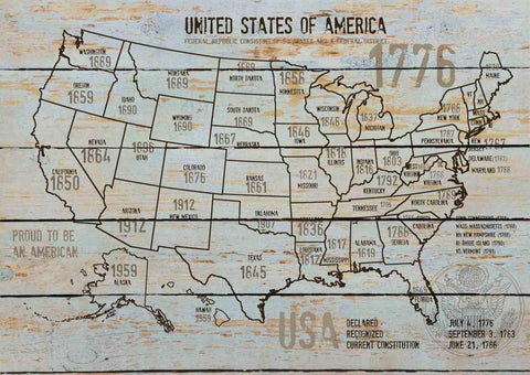 "Map of USA 1776-6. Canvas Print by Irena Orlov 24"" X 36"", large canvas art print"