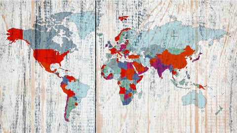 World Map on wooden planks white. Vintage World Map. Large Canvas Wall Art for H