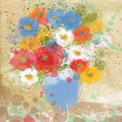 Bright Flowers In vase canvas art, large wall art, flower canvas art print, fine