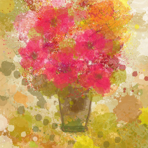 Abstract Colorful Flowers in vase canvas, large wall art, flower canvas art prin