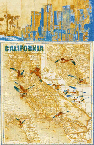 California Vintage Map. Abstract World Map. Large Canvas Wall Art for Home. Home