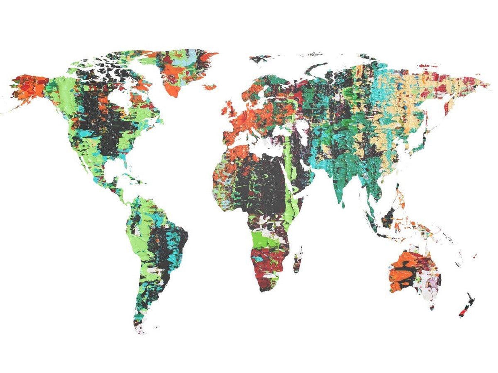 Abstract Map Of The World.Painted World Map Vii Large Canvas Art Large Wall Art For Home