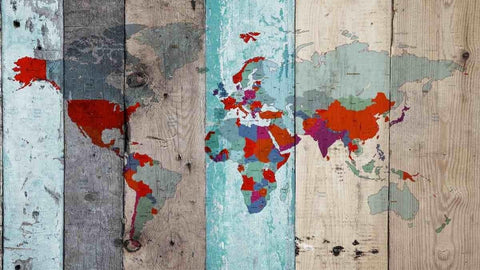 World Map on Wooden planks V. Vintage World Map. Large Canvas Wall Art for Home.