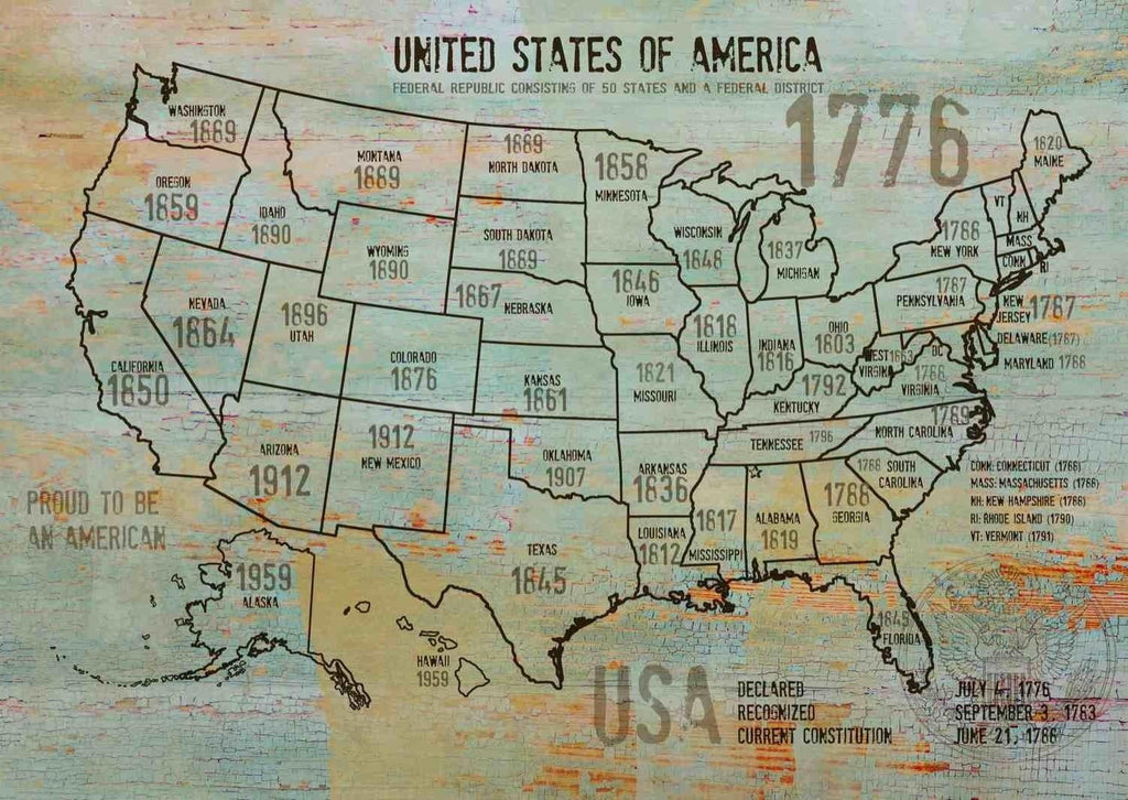 Map Of Usa 1776.Map Of Usa 1776 8 Canvas Print By Irena Orlov 24 X 36 Large