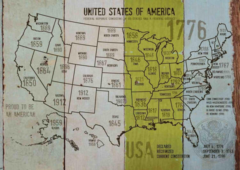 "Map of USA 1776-38. Canvas Print by Irena Orlov 24"" X 36"", large canvas art prin"