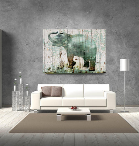 Blue Elephant 2. Large elephant canvas print, elephant wall decor, ELEPHANT art