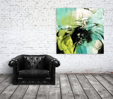 5361-6-1 August II. Extra Large Floral Fine Art Teal Green Canvas Print up to 48