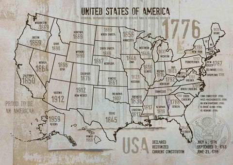 "Map of USA 1776-30. Canvas Print by Irena Orlov 24"" X 36"", large canvas art prin"