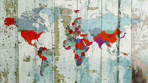 World Map on wooden planks. Vintage World Map. Large Canvas Wall Art for Home. H