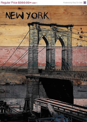 Old Brooklyn Bridge. Unstretched Canvas Print, Large Architectural Canvas Print
