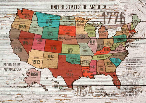 "The United States of America Map I . Canvas Print by Irena Orlov 24"" X 36"""