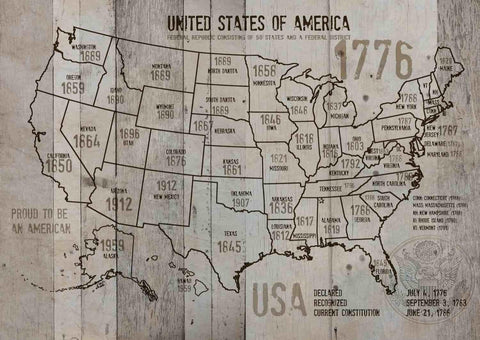 "Map of USA 1776-1. Canvas Print by Irena Orlov 24"" X 36"", large canvas art print"