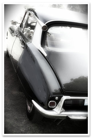 Vintage Auto. Large car canvas print. Black and white car detail canvas print, w