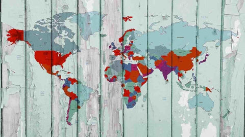World Map on wooden planks III. Vintage World Map. Large Canvas Wall Art for Hom