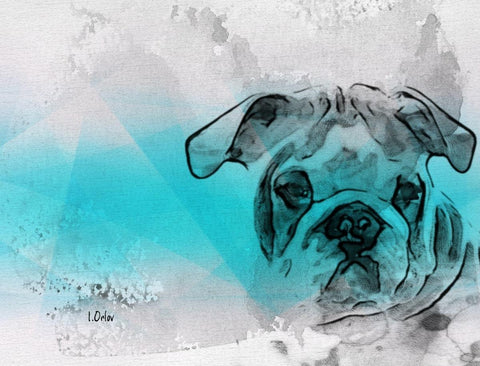 Bulldog Portrait. Canvas Print by Irena Orlov 24x36""