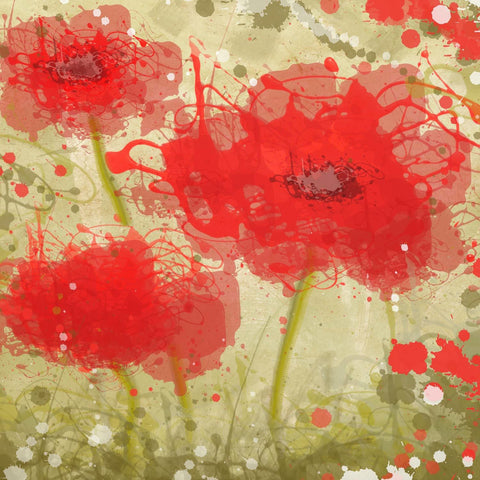 Abstract Red poppy trio Flowers canvas, large wall art, flower canvas art print,