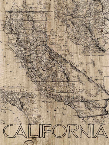 California Vintage Map. Large Canvas Art Print. Vintage Map. Wall Decor for Home