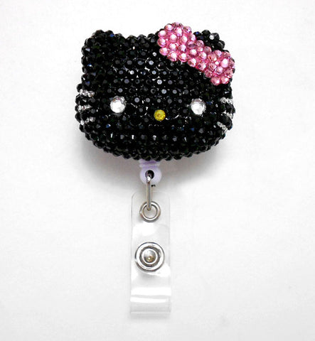 Black Face Pink Bow Hello Kitty Inspired  - Full Blinged Handmade Rhinestone Retractable Badge Reel - Badge Holders - Designer ID Reel - Doctor Nurse Teacher Coworker Gifts - Pretty Name Badge Clips