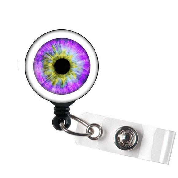SALE !!!!! Eye Ball Retractable ID Badge Reel - Alligator Swivel Clip ID Badge Holder - Teacher Nurse Gifts Badge Clips - Best Gift Idea