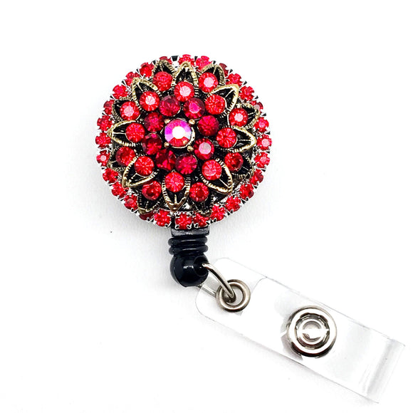 Full Bling Red Rhinestones Brooch Retractable ID Badge Reel - Alligator Swivel Clip ID Badge Holder - Teacher Nurse Gifts Badge Clips