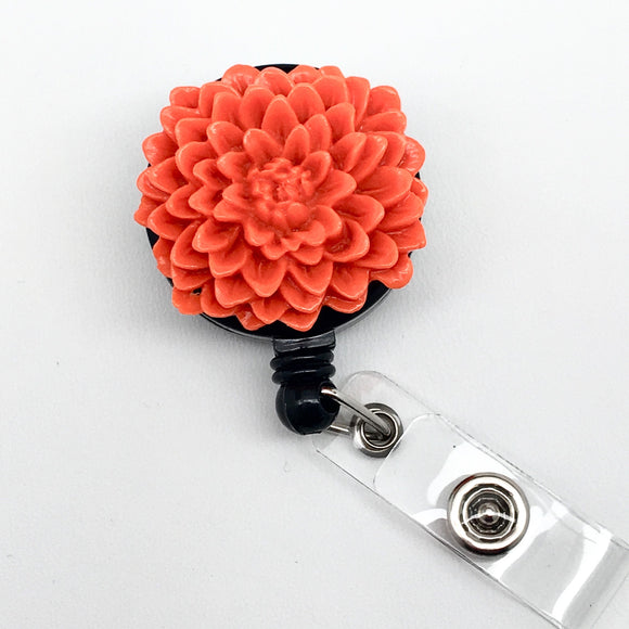 Handmade Orange Chrysanthemum Flower Cabochon Alligator Swivel Clip Retractable ID Badge Reel / Name Badges / ID Badge Holder Great Gift