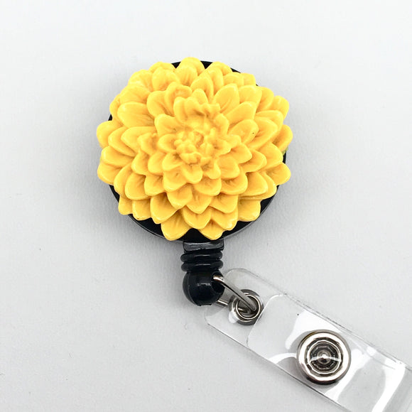 Handmade Yellow Resin Chrysanthemum Cabochon Alligator Swivel Clip Retractable ID Badge Reel / Name Badges / ID Badge Holder Great Gift