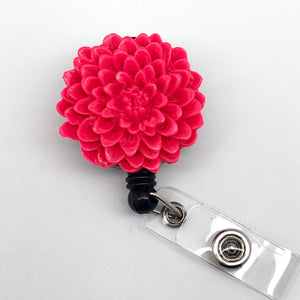 Handmade Hot Pink Chrysanthemum Flower Cabochon Alligator Swivel Clip Retractable ID Badge Reel / Name Badges / ID Badge Holder Great Gift