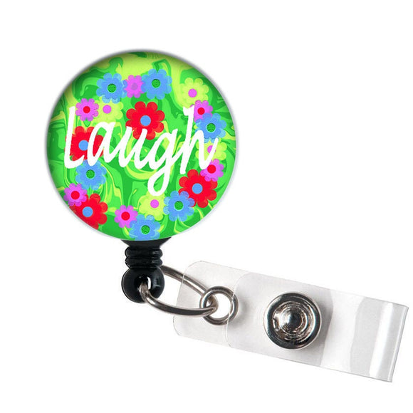 Laugh - Retractable ID Badge Reel - Alligator Swivel Clip ID Badge Holder - Nurse Gifts Badge Clips - Best Gift Idea