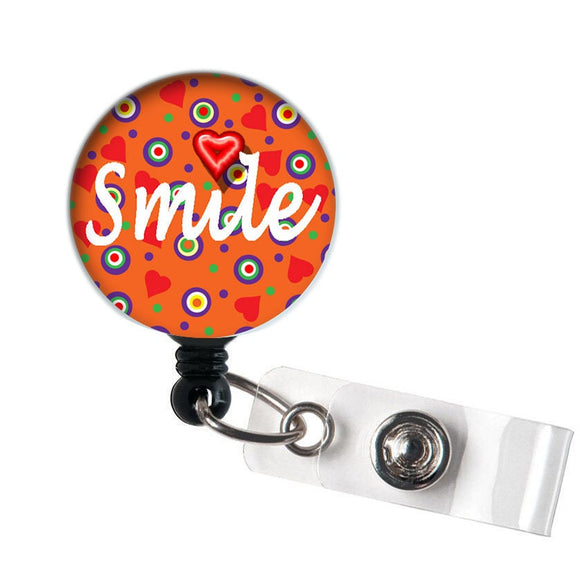 Smile - Retractable ID Badge Reel - Alligator Swivel Clip ID Badge Holder - Nurse Gifts Badge Clips - Best Gift Idea