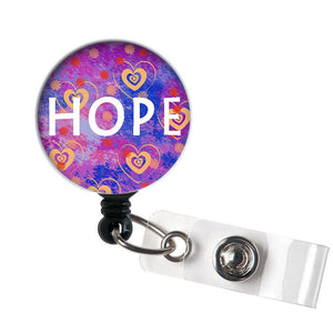 Hope - Retractable ID Badge Reel - Alligator Swivel Clip ID Badge Holder - Nurse Gifts Badge Clips - Best Gift Idea