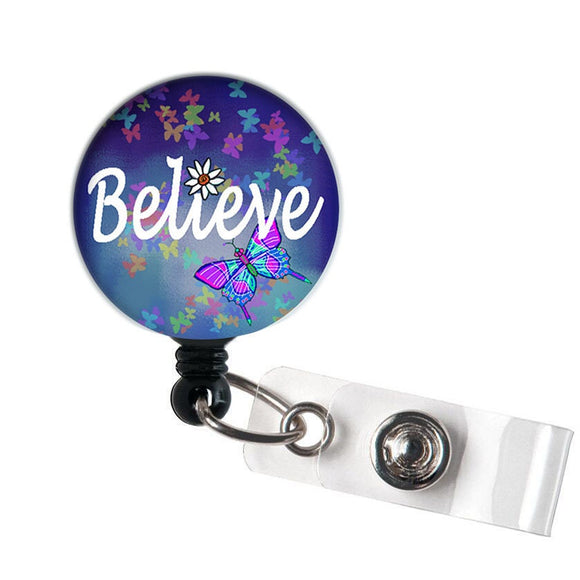 Believe - Retractable ID Badge Reel - Alligator Swivel Clip ID Badge Holder - Nurse Gifts Badge Clips - Best Gift Idea