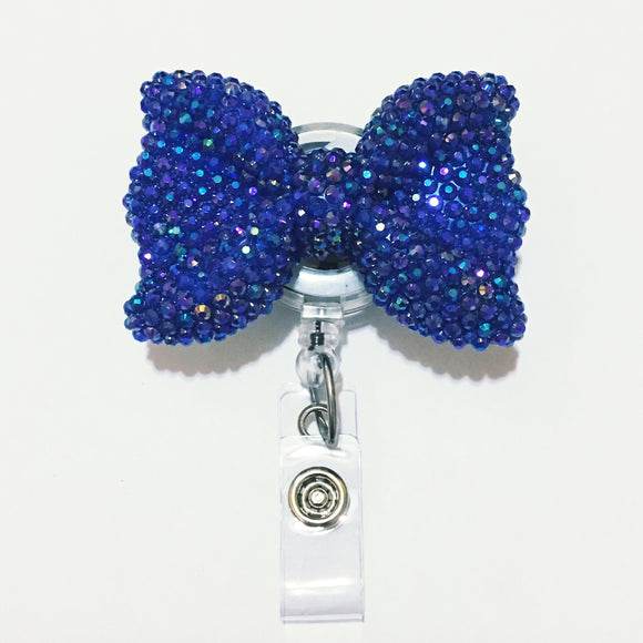 Full Bling AB Navy  Blue Hello Cutie Bow Jelly Rhinestones Kitty Bow Retractable ID Badge Reel - Alligator Swivel Clip ID Badge Holder - T