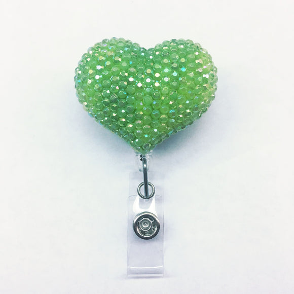 Full Bling AB Green Hello Cutie Heart Jelly Rhinestones Kitty Bow Retractable ID Badge Reel - Alligator Swivel Clip ID Badge Holder
