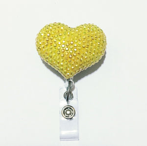 Full Bling AB Yellow Hello Cutie Heart Jelly Rhinestones Kitty Bow Retractable ID Badge Reel - Alligator Swivel Clip ID Badge Holder