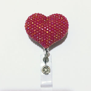 Full Bling AB Red Hello Cutie Heart Jelly Rhinestones Kitty Bow Retractable ID Badge Reel - Alligator Swivel Clip ID Badge Holder