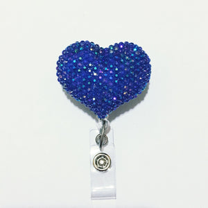 Full Bling AB Navy Blue Hello Cutie Heart Jelly Rhinestones Kitty Bow Retractable ID Badge Reel - Alligator Swivel Clip ID Badge Holder