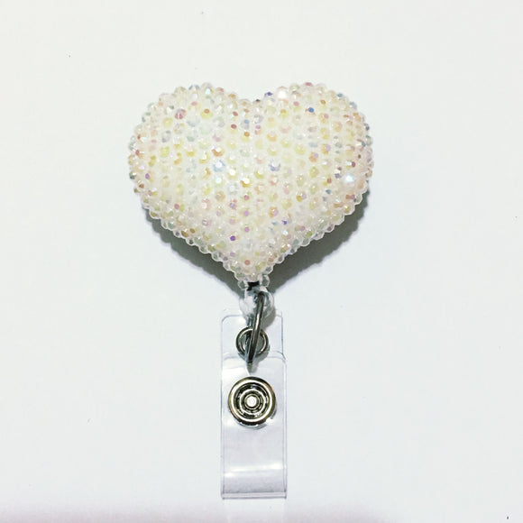 Full Bling AB White Hello Cutie Heart Jelly Rhinestones Kitty Bow Retractable ID Badge Reel - Alligator Swivel Clip ID Badge Holder