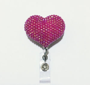 Full Bling AB Hot Pink Hello Cutie Heart Jelly Rhinestones Kitty Bow Retractable ID Badge Reel - Alligator Swivel Clip ID Badge Holder