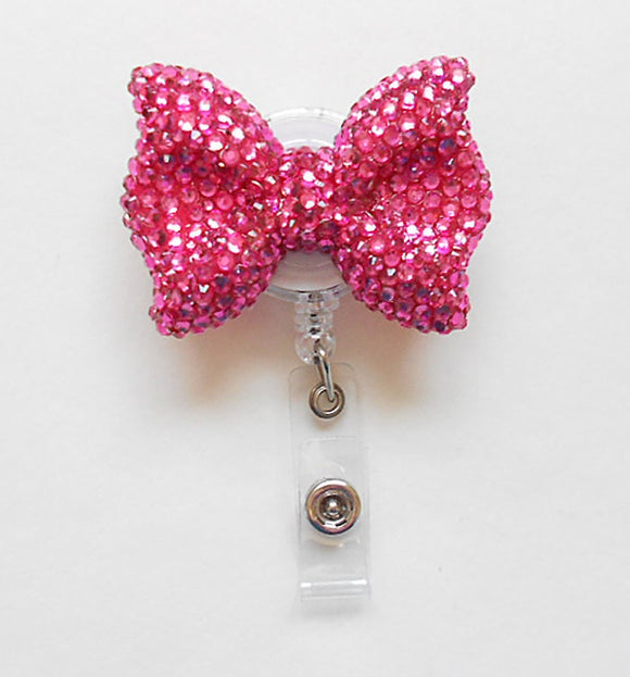Full Bling Hot Pink Hello Cutie Bow Rhinestones Kitty Bow Retractable ID Badge Reel - Alligator Swivel Clip ID Badge Holder - T