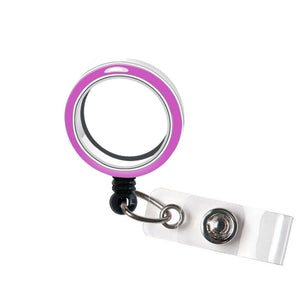 Empty Fuchsia Purple Screw top Floating Locket Holders - Charm Locket Badge Holders Clip - Memory Locket Retractable  ID Badge Reel