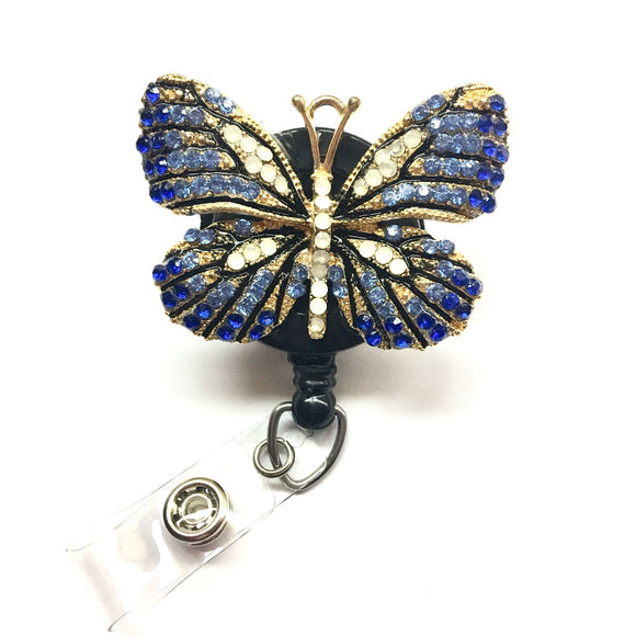 Blue Rhinestones Butterfly Alloy Retractable ID Badge Reel - Alligator Swivel Clip ID Badge Holder - Gifts Badge Clips